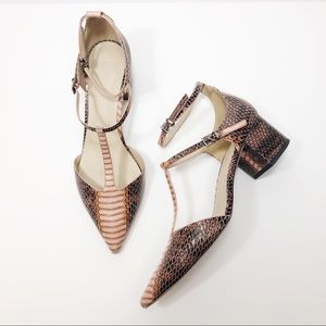 ASOS Switch It On Pointed Heels in Pink Snakeskin